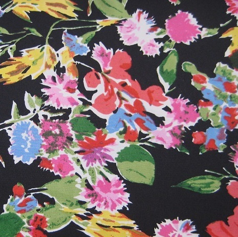 Black Floral Chirimen Polyester
