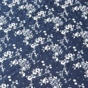 Navy and Cream Floral Cotton Lawn