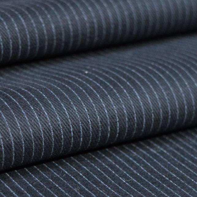 Holm Sown Online Fabric Shop - Indigo Brushed Cotton Twill Pinstripe fabric