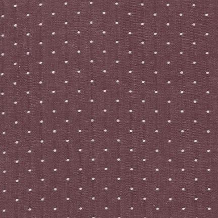 Cotton Chambray Dots - Burgundy
