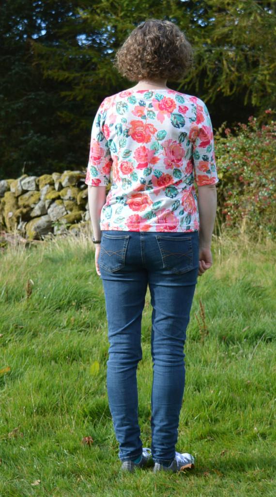 Brigitte Top - back // Tessuti Patterns // Flowered Engrams AGF knit // Holm Sown