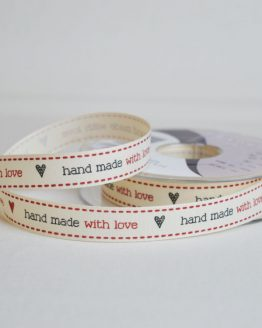 Berisfords Ribbon | Hand Made With Love | 15mm wide | Holm Sown