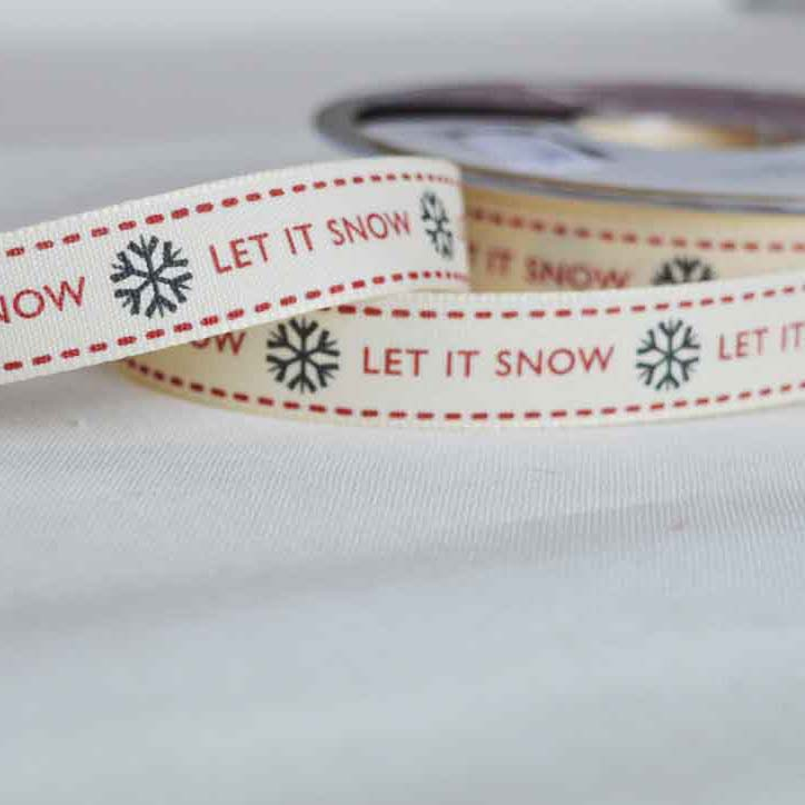 Berisfords Twill Ribbon | Christmas Let It Snow snowflakes | 15mm wide | Holm Sown