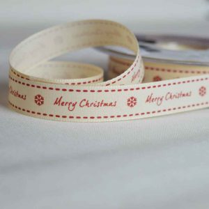 Berisfords Twill Ribbon | Merry Christmas | 15mm wide | Holm Sown