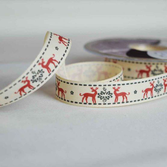 Berisfords Ribbon   Christmas Reindeers   15mm wide   Holm Sown
