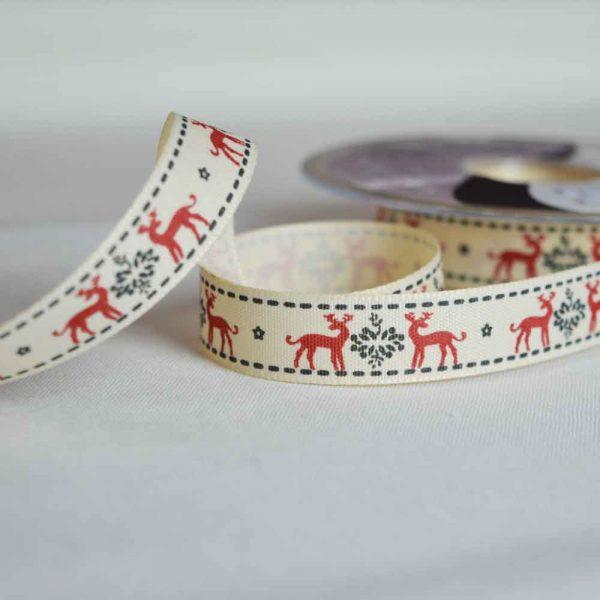 Berisfords Ribbon | Christmas Reindeers | 15mm wide | Holm Sown