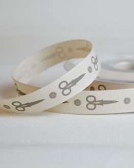 Berisfords Ribbon | Scissors and Buttons | 15mm wide | Holm Sown