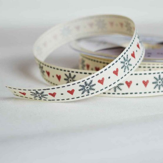 Berisfords Twill Ribbon | Christmas snowflakes and hearts | 15mm wide | Holm Sown