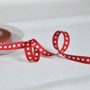 Berisfords Woven Ribbon | Box Stitch Red | 7mm wide | Holm Sown
