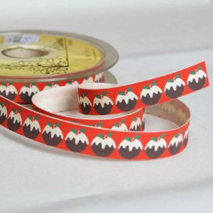 Bowtique Twill Ribbon | Christmas Puddings | 15mm wide | Holm Sown