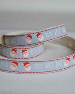 Bowtique Twill Ribbon | Christmas Santa Claus Ho Ho Ho | 15mm wide | Holm Sown