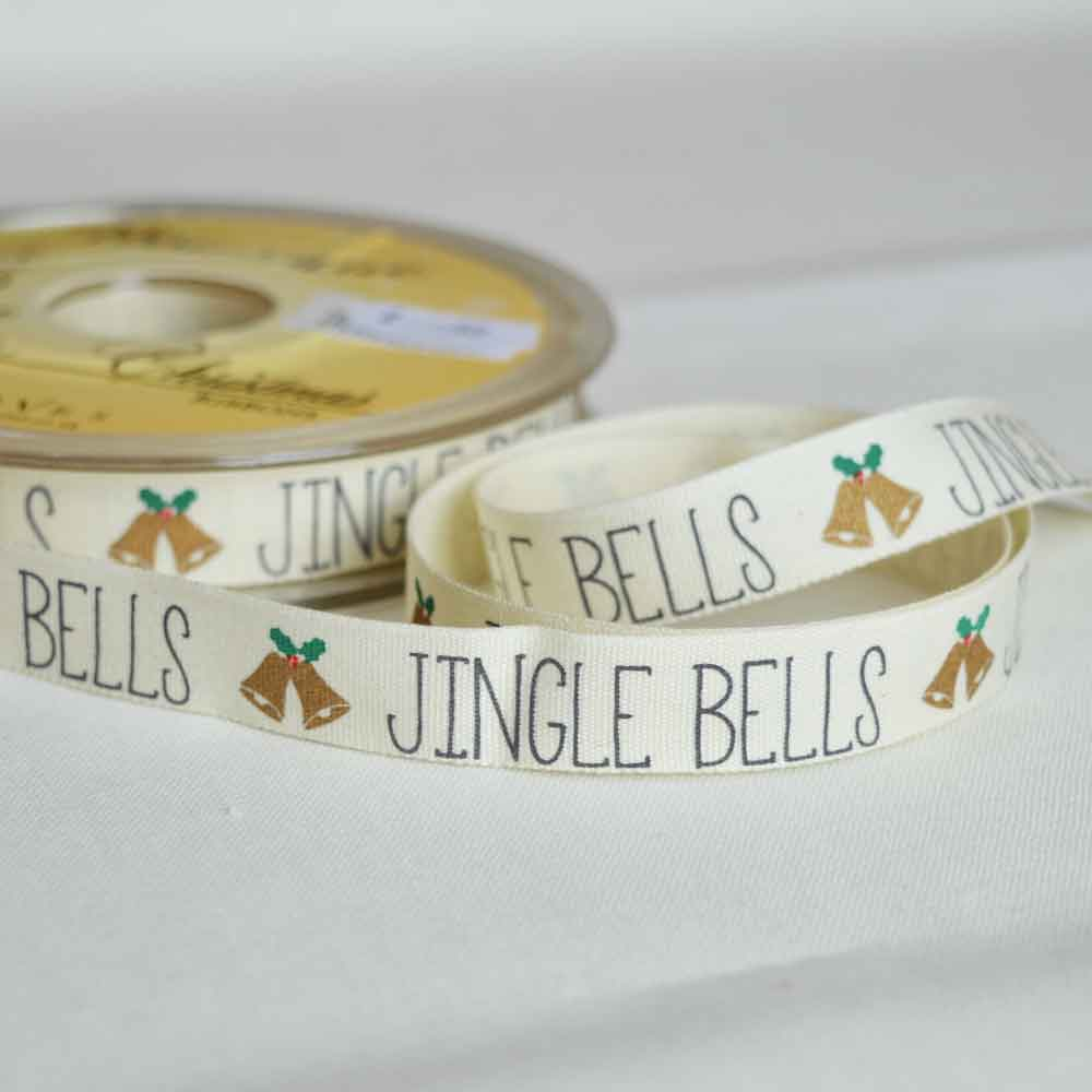 Bowtique Twill Ribbon | Christmas Jingle Bells | 15mm wide | Holm Sown