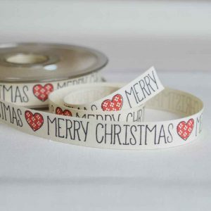 Bowtique Twill Ribbon | Merry Christmas fair isle hearts | 15mm wide | Holm Sown