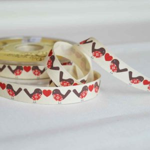 Bowtique Twill Ribbon | Christmas fair isle robbins and hearts | 15mm wide | Holm Sown