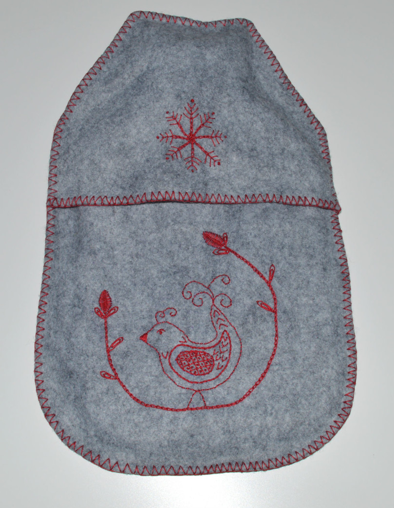 Embroidered Felt Hot Water Bottle // Holm Sown