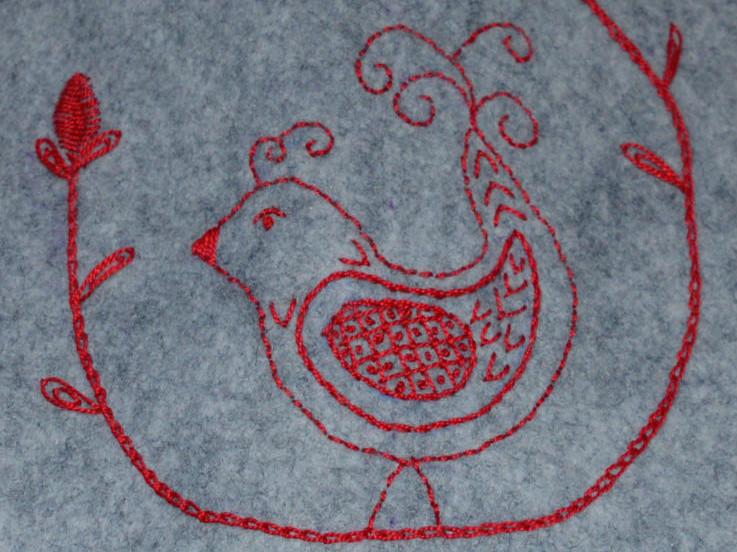 Embroidered Felt Hot Water Bottle // bird detail // Holm Sown