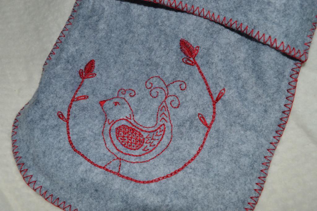 Embroidered Felt Hot Water Bottle // front detail // Holm Sown
