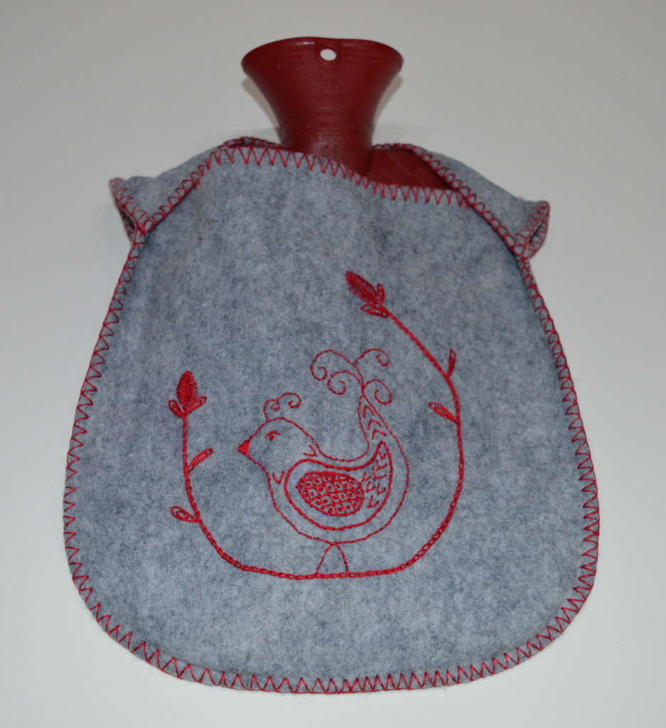 Embroidered Felt Hot Water Bottle // opened // Holm Sown
