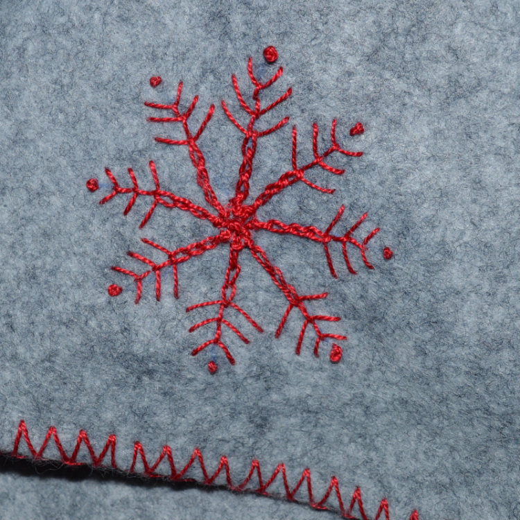 Embroidered Felt Hot Water Bottle // snowflake detail // Holm Sown