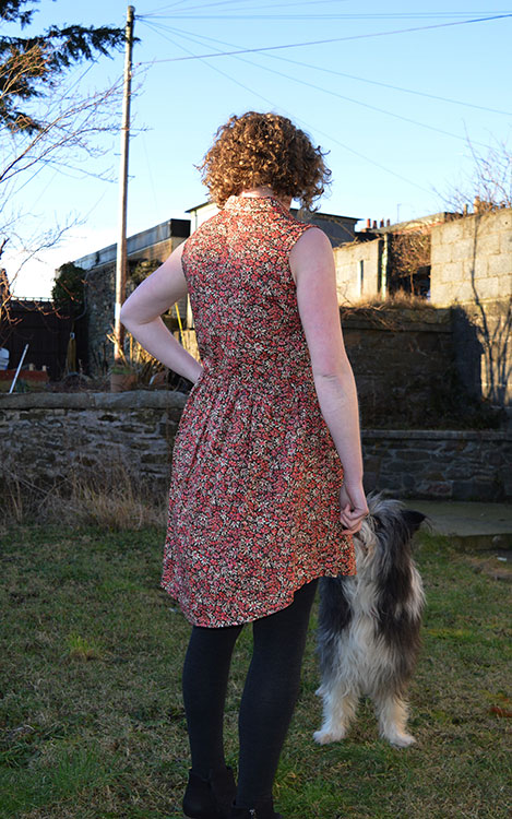 Grainline Alder Shirt Dress // version B // Back view // Liberty Eleonora C // Holm Sown
