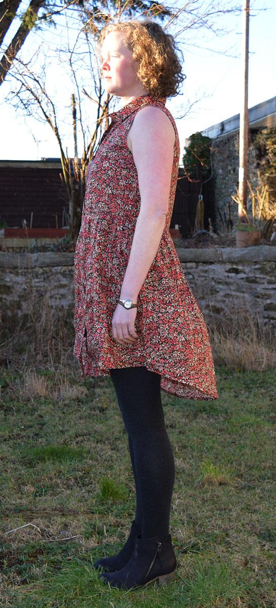 Grainline Alder Shirt Dress // version B // Side view // Liberty Eleonora C // Holm Sown