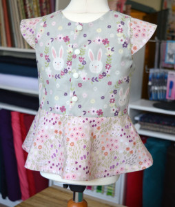 Easter Bunny Garden // girls peplum top - back // First Day Top from MADE // Holm Sown