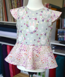 Easter Bunny Garden // girls peplum top - front // First Day Top from MADE // Holm Sown