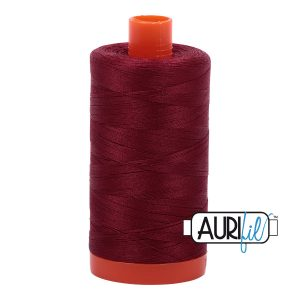 AURIfil Mako 50wt thread // cotton thread // #2460 dark carmine red // Holm Sown