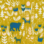 Cloud9 Fabrics // Lore by Leah Duncan // Lions tigers and bears on gold // Holm Sown