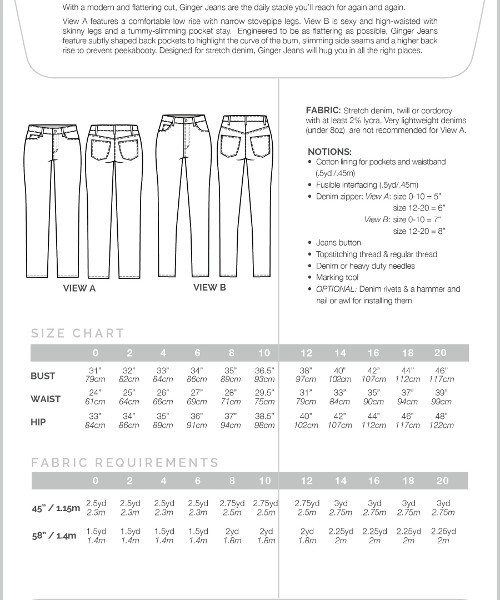 Closet Case Ginger Jeans // pattern envelope back // sizing and fabric requirements // Holm Sown