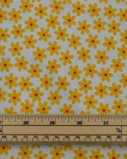 Daisy cotton poplin fabric - yellow // scale // Holm Sown
