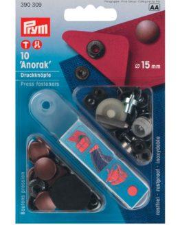 P390309 Prym Anorak snaps 15mm antique copper // Holm Sown