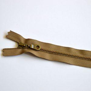 YKK Donut Pull Metal Tooth Zip // 14 inch / 35.5cm // taupe brown // Holm Sown