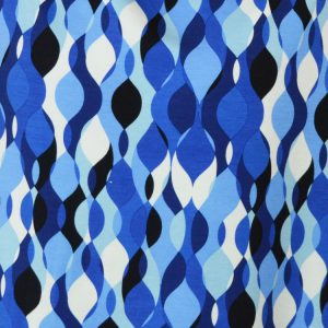 Blue Retro Ripple viscose lycra jersey dressmaking fabric // Holm Sown