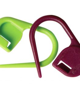 KnitPro locking stitch markers for knitting // pack of 30 green and purple // Holm Sown