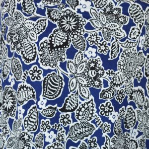 Lisbon blue and black viscose lycra jersey dressmaking fabric // Holm Sown