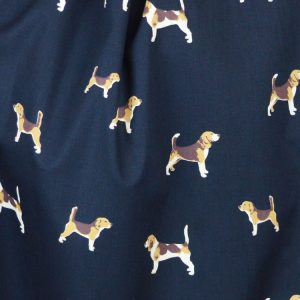 Beagle Dogs navy cotton poplin dressmaking fabric // Holm Sown