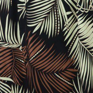 Palm Leaf black cotton poplin dressmaking fabric // Holm Sown