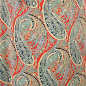 Red Paisley polyester lycra jersey dressmaking fabric // Holm Sown