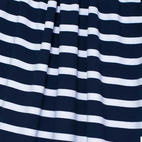 Lillestoff block stripes organic cotton jersey fabric - navy blue and white // Holm Sown