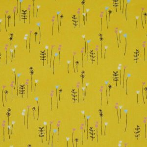 Beatrix Potter Peter Rabbit Cotton Fabric | yellow flowers | Holm Sown