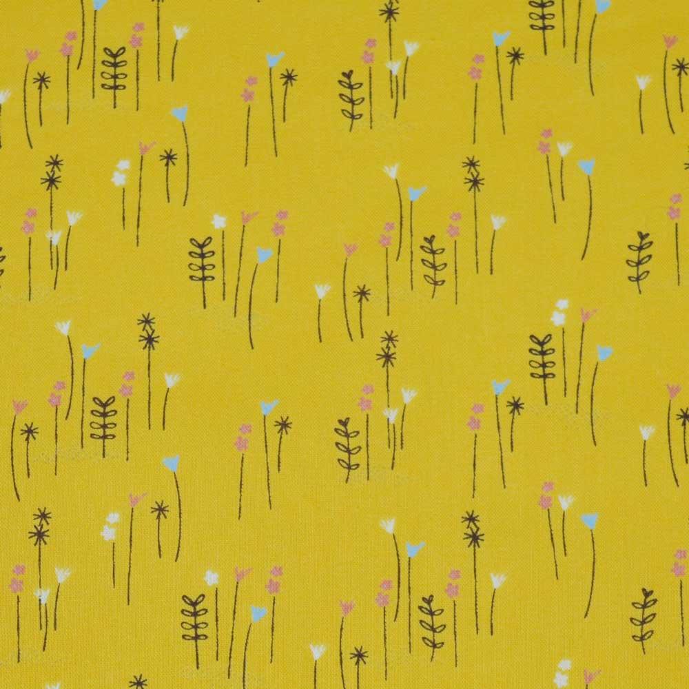 Beatrix Potter Peter Rabbit Cotton Fabric | yellow flowers | Holm Sown