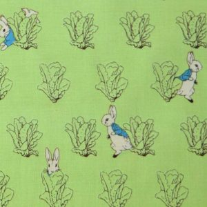 Beatrix Potter Peter Rabbit Cotton Fabric | green lettuces | Holm Sown