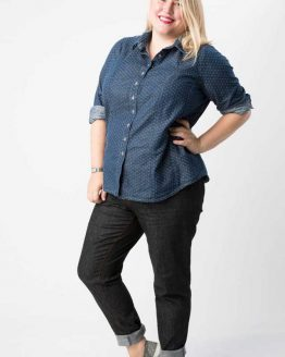Cashmerette Harrison Shirt // Curvy Sewing Patterns // dot chambray // Holm Sown