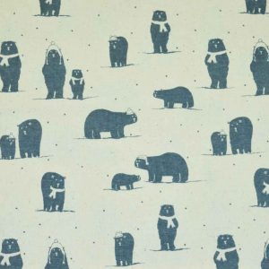 Christmas Polar Bears cotton calico fabric | natural | Holm Sown