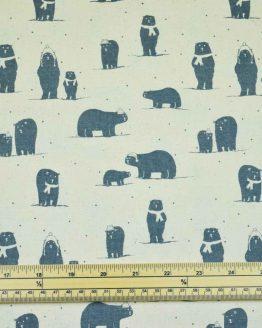 Christmas Polar Bears cotton calico fabric | natural | Holm Sown