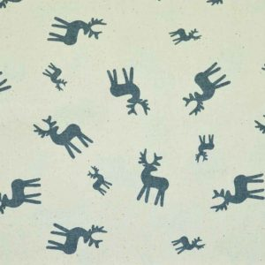 Christmas Reindeer cotton calico fabric | natural | Holm Sown
