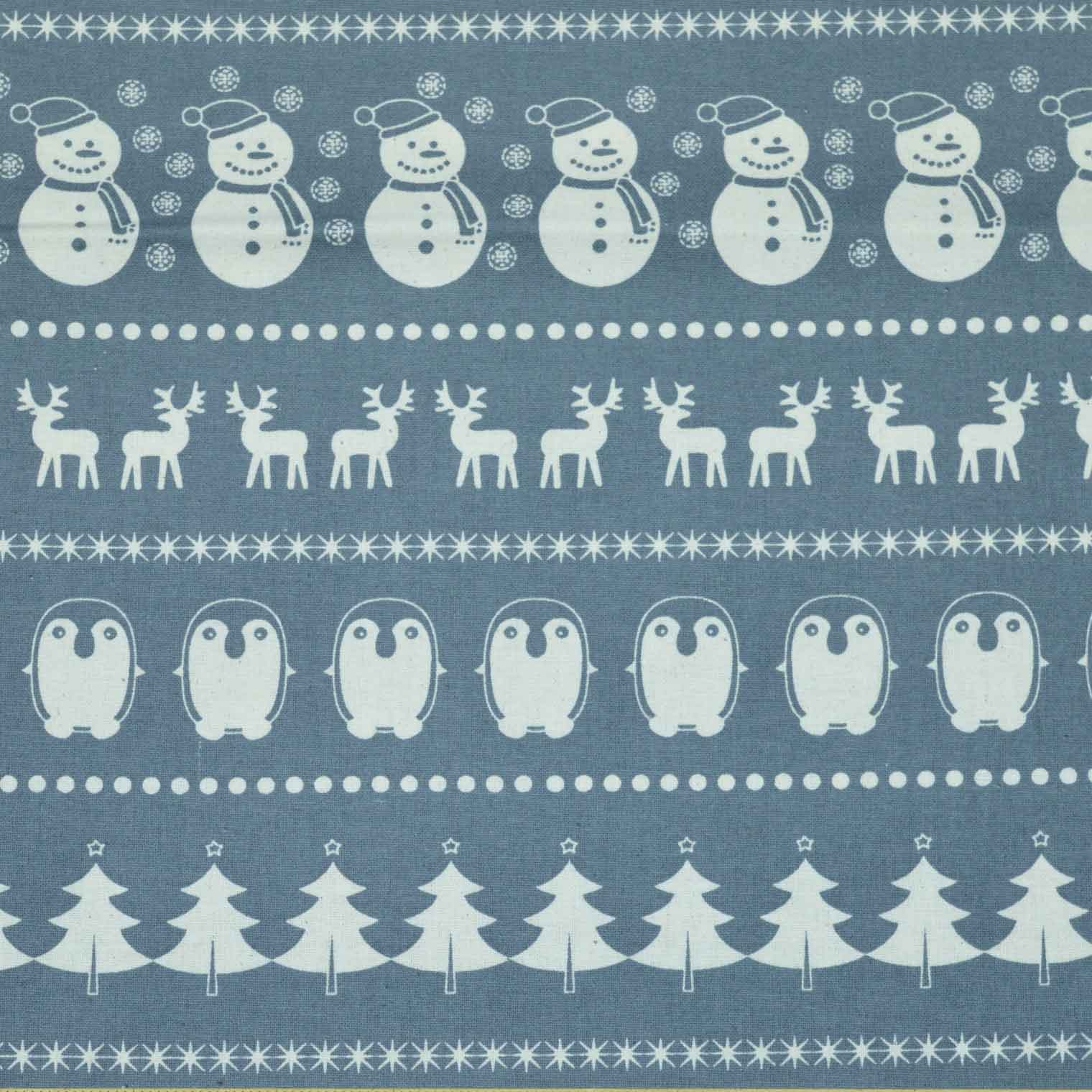 Christmas Snowman and Penguin cotton calico fabric | grey | Holm Sown