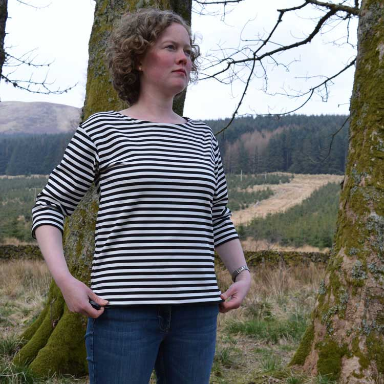 Liesl + Co Ponte Maritime Top   Black and White Stripe Ponte Di Roma   front view   Holm Sown