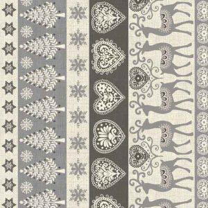 Makower Scandi Christmas cotton fabric | Border Stripe Grey | Holm Sown